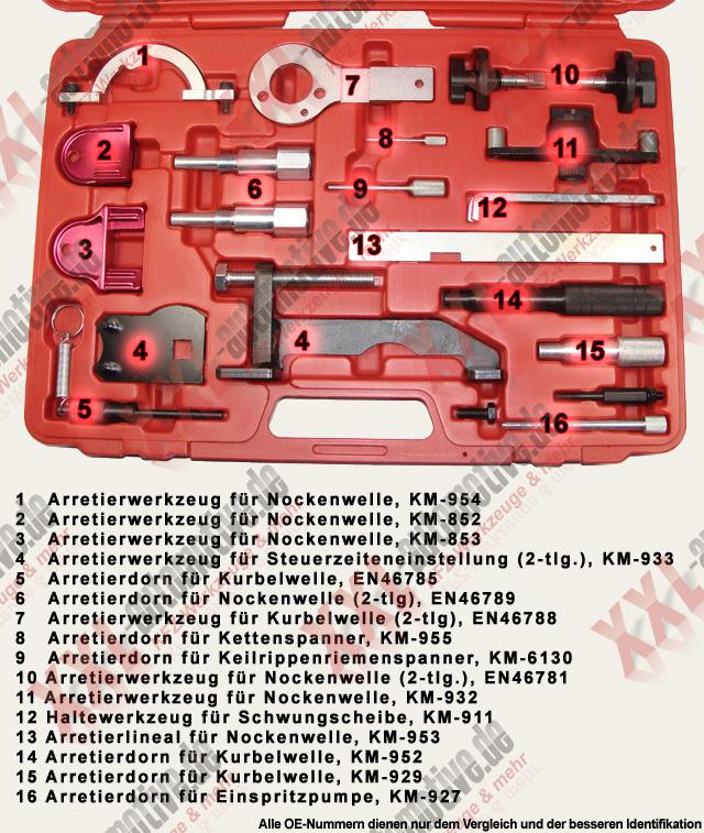 Opel Vergleichsnummern Spezialwerkzeug KM-954 KM-852 KM-853 KM-933 En46785 KM-955 KM-6130 KM-911