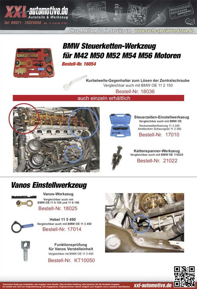 Steuerzeiten Werkzeug für BMW M50, M52 und M45 Motoren - Verwendungshinweise