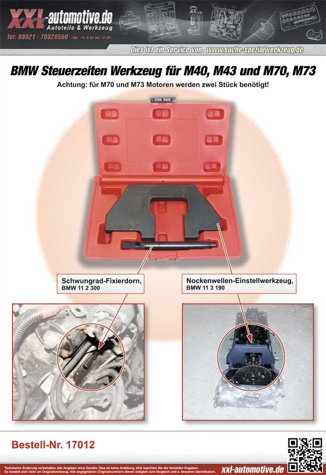Zuordnungsliste für das Steuerzeiten-Werkzeug für BMW M40, M43, M70 und M73 Motoren