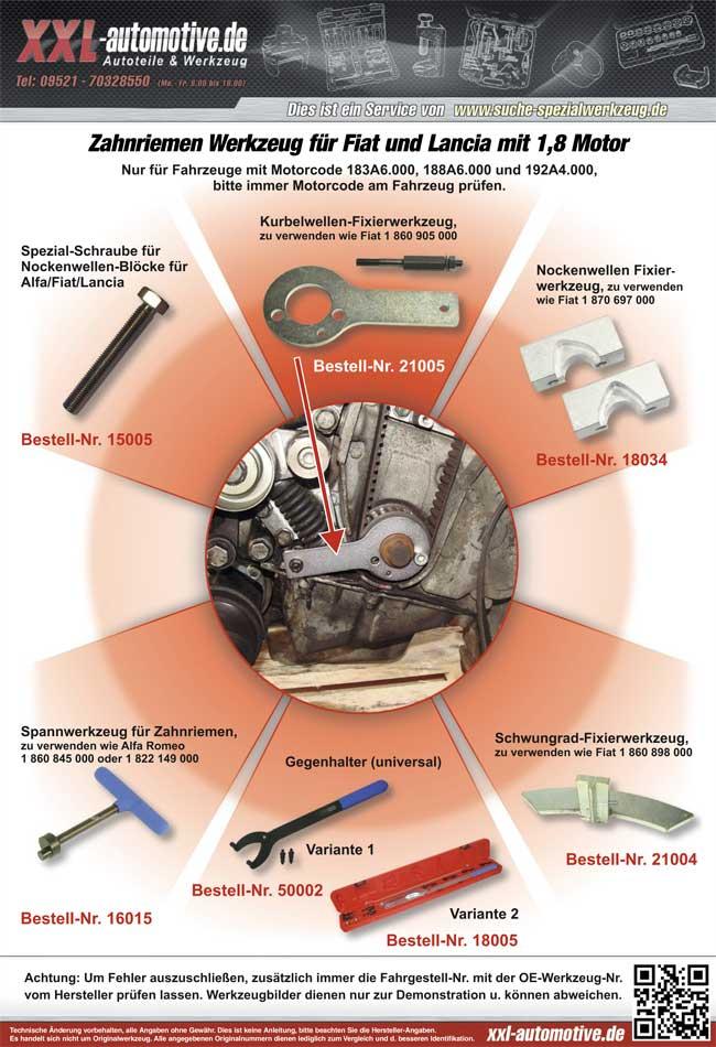 Anwendungshinweise für das Steuerzeiten Werkzeug für 1.8 ltr Fiat und Lancia Motoren