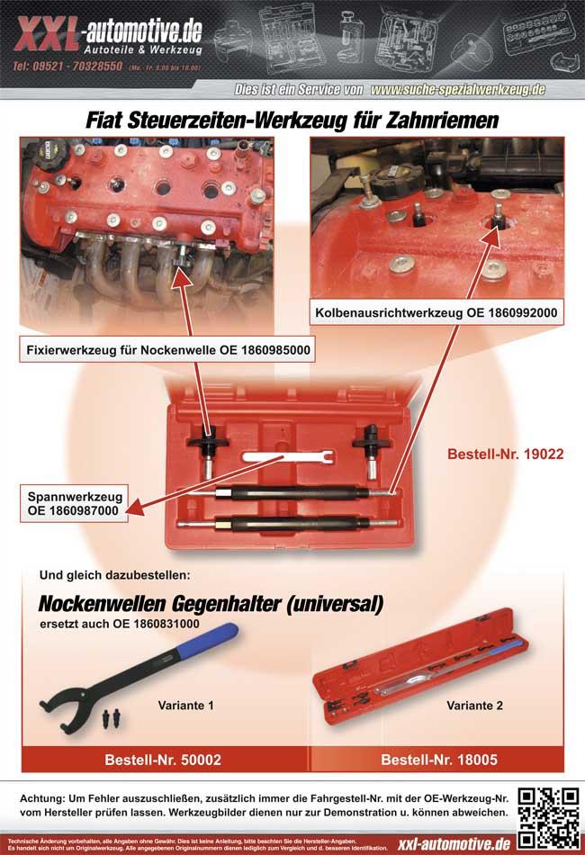 Zuordnungsliste für das Steuerzeiten-Werkzeug für Fiat 1.2 16V Motoren