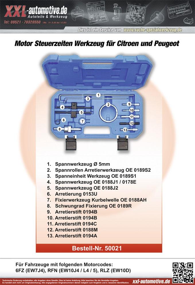 Zuordnungsliste fü Citroen und Peugeot 1.8ltr und 2.0ltr Motoren - Motorcode 6FZ, RFN, RLZ