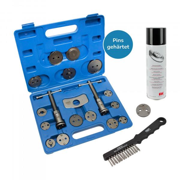 Bremskolbenrücksteller, 18-tlg. + 3-Pin-Adapter + Drahtbürste + Bremsenreiniger