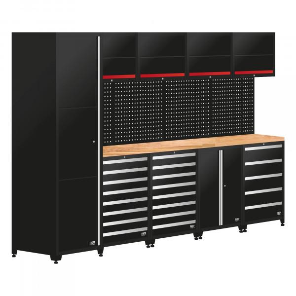 Werkstatteinrichtung / 5 Module Schrankwand aus Metall, Länge 3444 mm