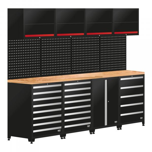 Werkstatteinrichtung / 4 Module Schrankwand aus Metall, Länge 2844 mm