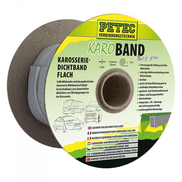 Karo - Band, Karosseriedichtband, Buthyl, Flach, grau, 20 mm x 2 mm x 16 m