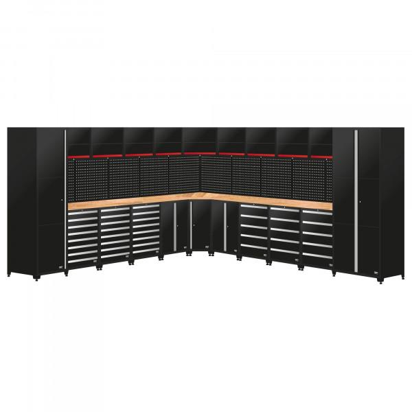 Werkstatteinrichtung / 11 Module Schrankwand aus Metall, Länge 4276 x 4591 mm