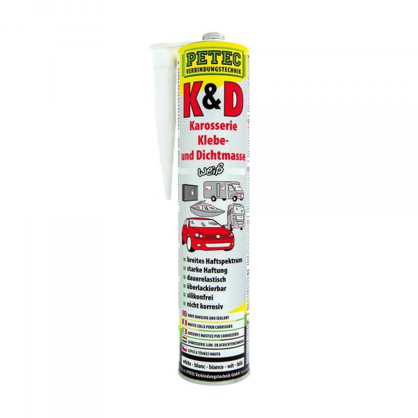 K & D, Karosserie Klebe- und Dichtmasse, 310 ml, Weiss