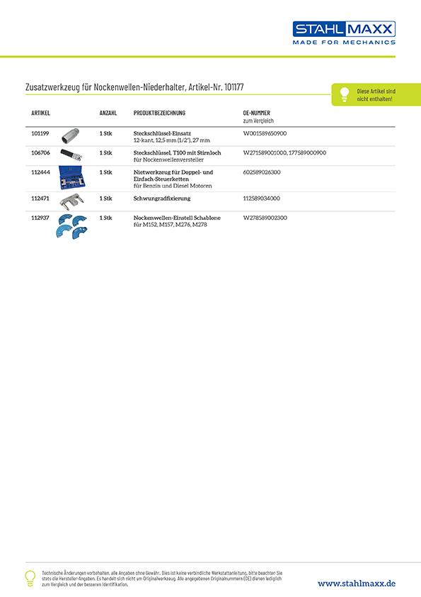 Gebrauchsanleitung zu Mercedes Nockenwellen-Haltewerkzeug wie W276589004000