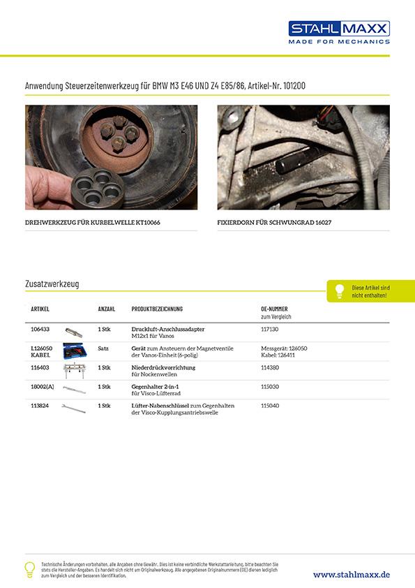 Zusatzwerkzeug Steuerzeiten-Werkzeug BMW M3 E46 und Z4 E85 / 86