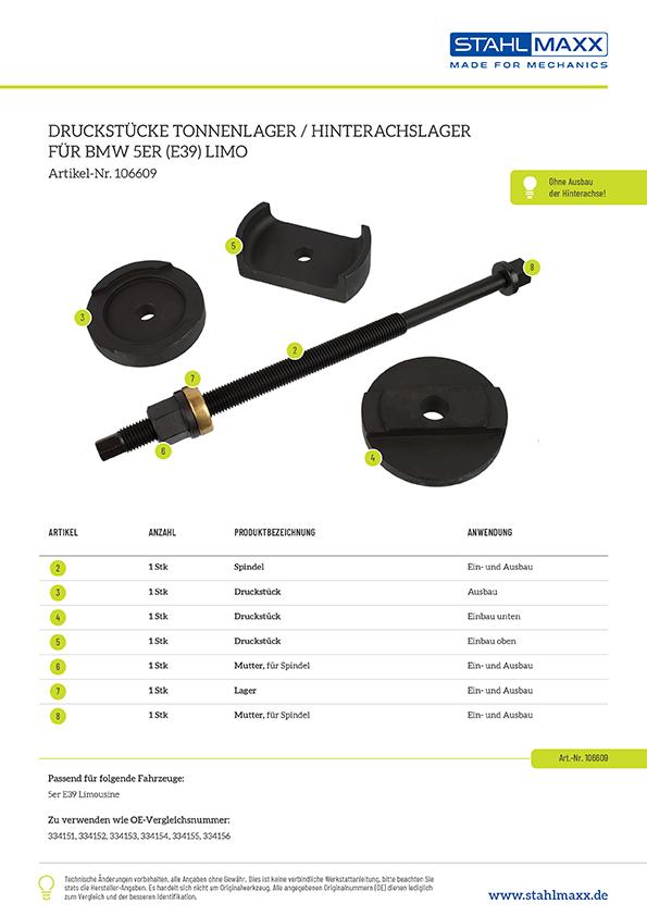 Druckstücksatz Tonnenlagerung Hinterachse für BMW 5er E39 Limo, zu verw. mit Grundkörper xxl-106605