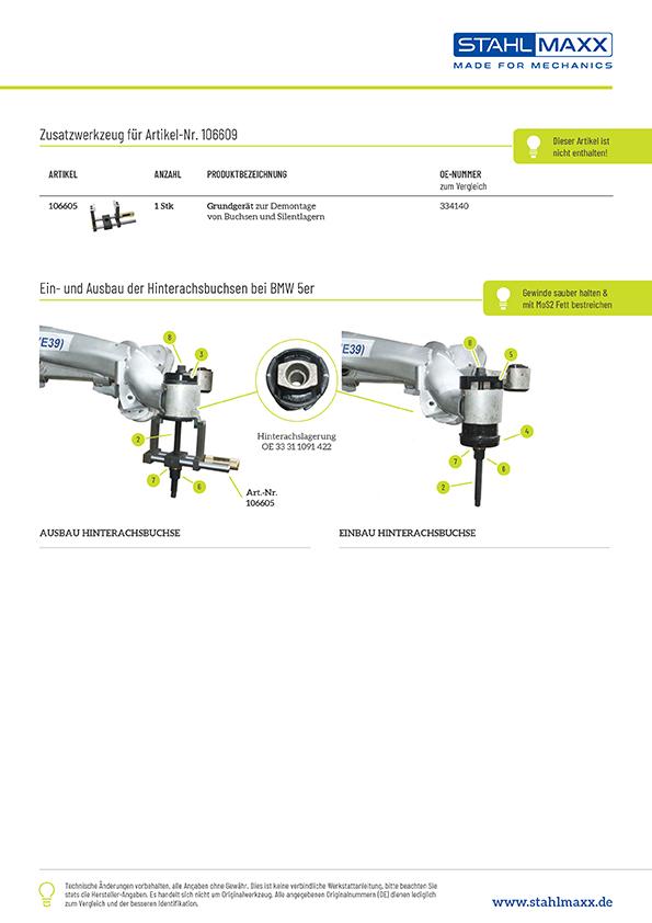 Anleitung Druckstücksatz Tonnenlagerung Hinterachse für BMW 5er E39 Limo, zu verw. mit Grundkörper xxl-106605