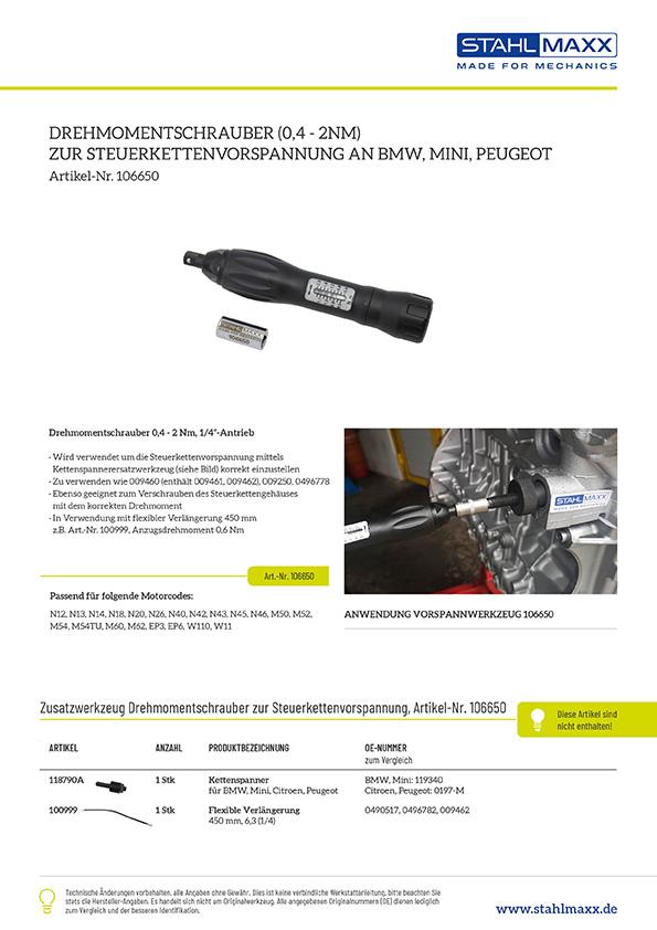 Drehmomentschrauber 0,4 - 2Nm zur Steuerkettenvorspannung an BMW, Mini, Peugeot