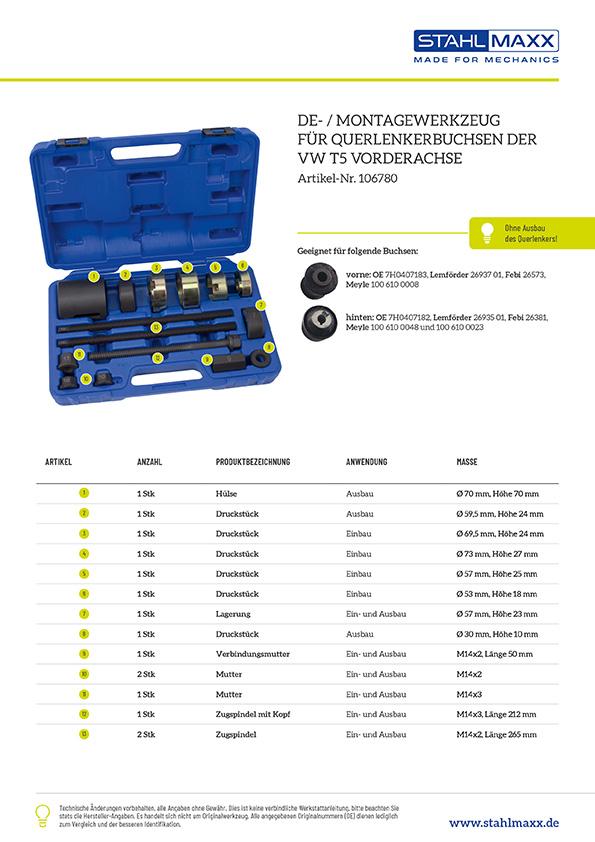 Querlenkerbuchsen De-/Montage Werkzeug VW T5 Vorderachse