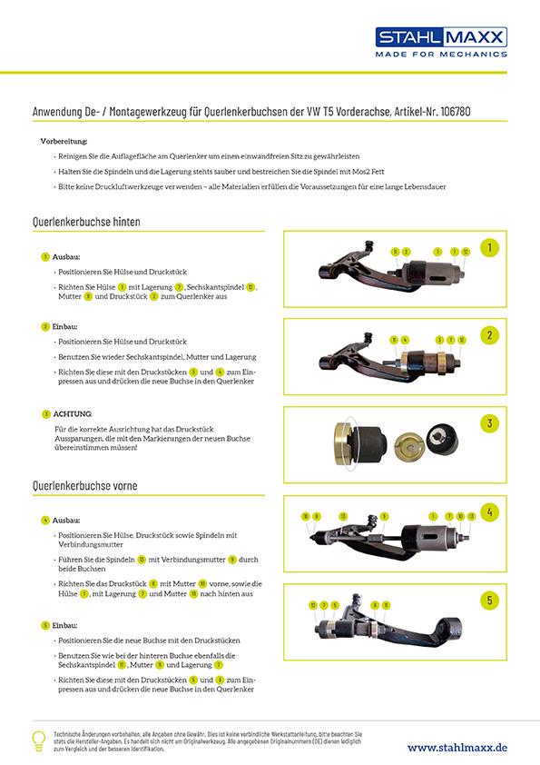 Anwendung Querlenkerbuchsen De-/Montage Werkzeug VW T5 Vorderachse