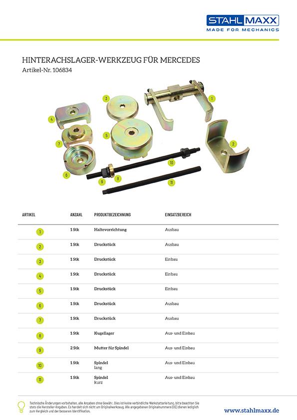 Hinterachslager-Werkzeug Mercedes W204 C204 S204 C218 W212 S212 C207 A207 X204 Typ 231