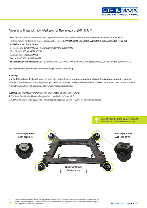 Anwendung Hinterachslager-Werkzeug Mercedes W204 C204 S204 C218 W212 S212 C207 A207 X204 Typ 231