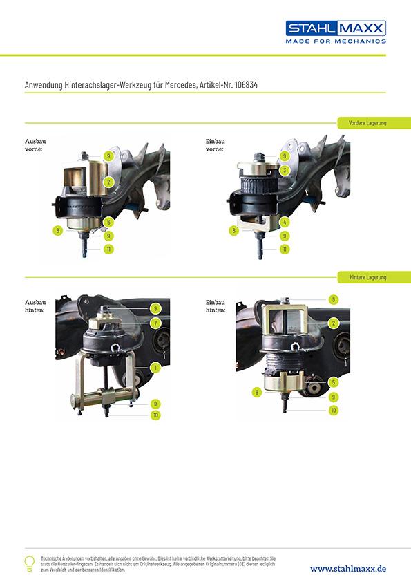 Anwendungsfotos Hinterachslager-Werkzeug Mercedes W204 C204 S204 C218 W212 S212 C207 A207 X204 Typ 231
