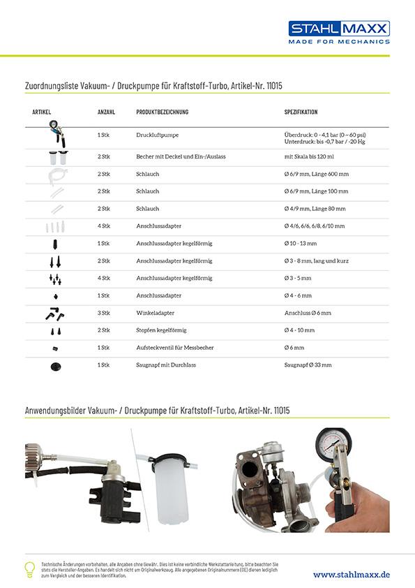 Diagnose mit Vakuum-/Druckpumpe für Kraftstoff, Turbolader, Bremsanlage