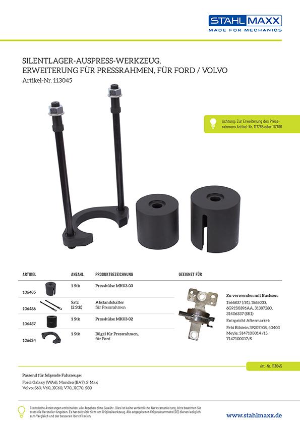 Erweiterungssatz Silentlager Hinterachsbuchsen-Werkzeug Ford, Volvo