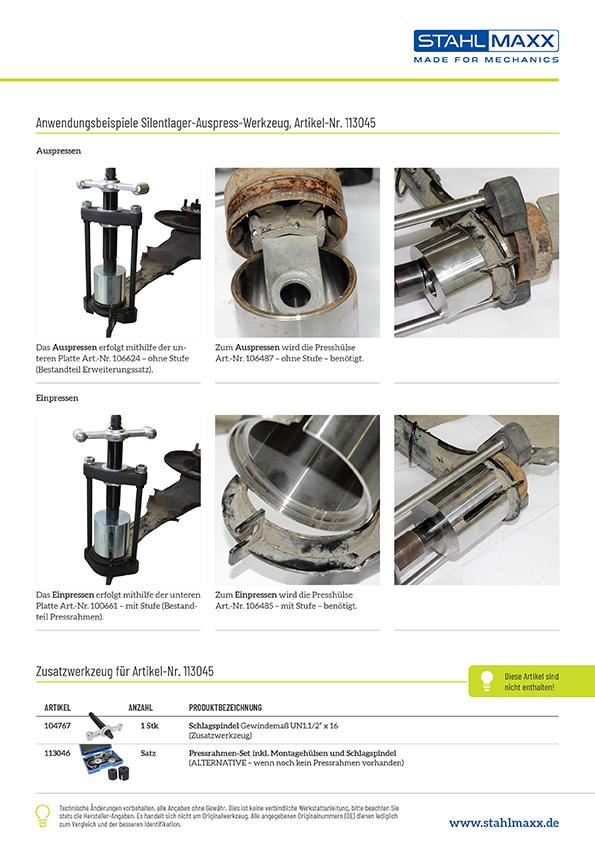 Anwendung Erweiterungssatz Silentlager Hinterachsbuchsen-Werkzeug Ford, Volvo