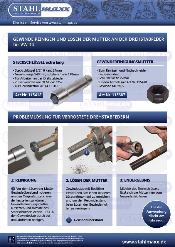 Anleitung Gewindeschneider M18x1,5 SW27 für T4 Drehstabfeder
