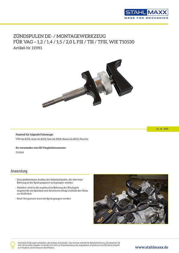Zündspulen Demonatgewerkzeug für VAG 1,2 1,4 2,0 FSI, TSI, TFSI, zu verw. wie OEM T10530