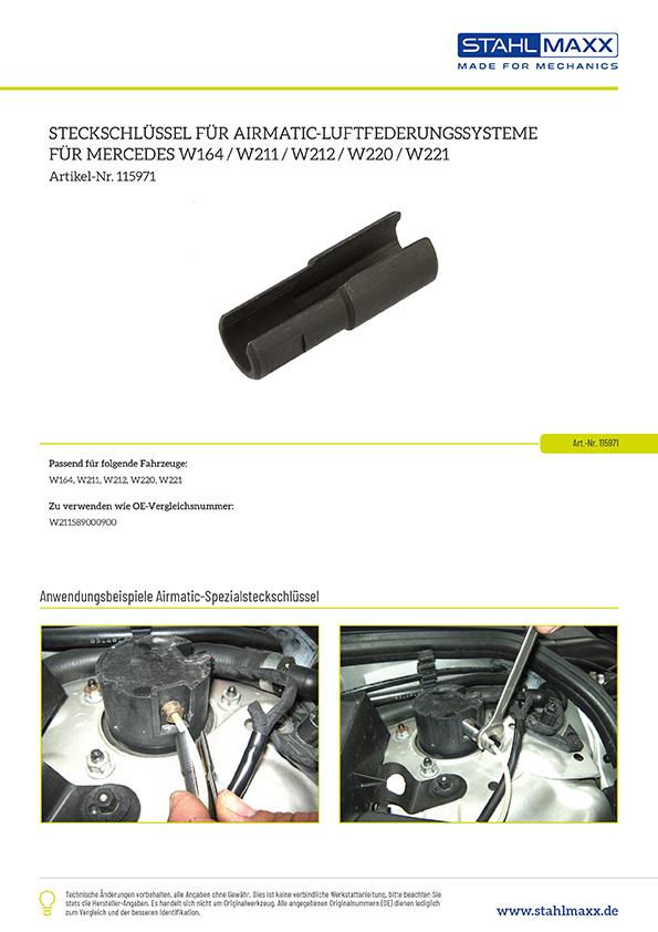 Informationen zu Mercedes Airmatic Steckschlüssel für W164, W211, W212, W220, W221