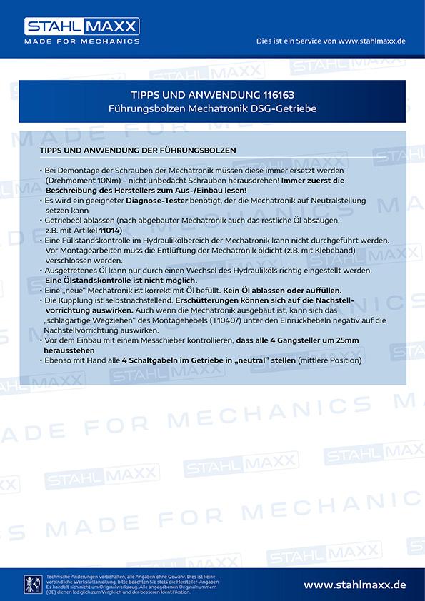 Anwendung Führungsbolzen Mechatronik DSG-Getriebe zu verwenden wie VAG T10406
