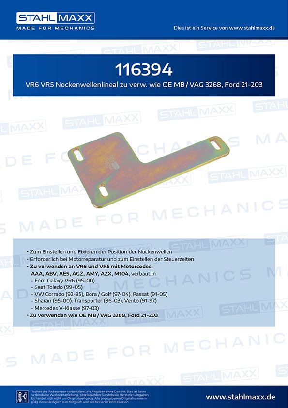VR6 VR5 Nockenwellenlineal wie MB / VAG 3268, Ford 21-203