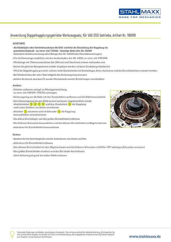 Anwendung Doppelkupplungsgetriebe DSG 6-/7-Gang wie T10323, T10373, T10374, T10376