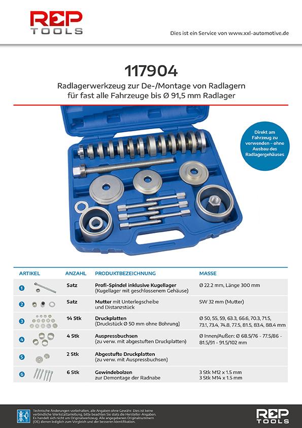 Radlagerwerkzeug zur De-/Montage von Radlagern für fast alle Fahrzeuge mit Radlager bis 91mm Durchmesser