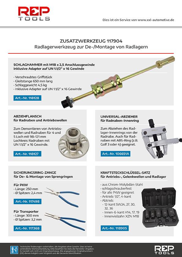 Zusatzwerkzeug Radlagerwerkzeug zur De-/Montage von Radlagern