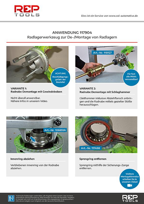 Anwendung Radlagerwerkzeug zur De-/Montage von Radlagern