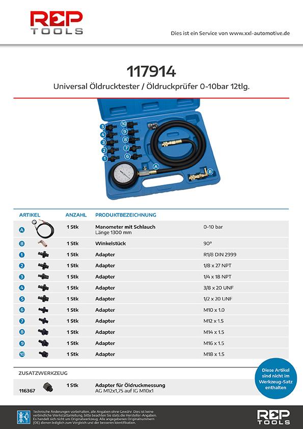 Universal Öldrucktester / Öldruckprüfer 0-10 bar