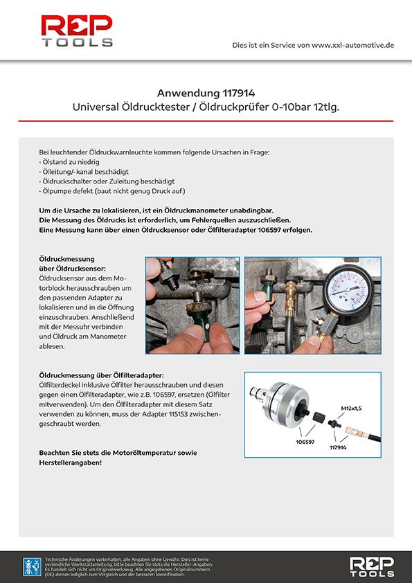 Anwendung Universal Öldrucktester / Öldruckprüfer 0-10 bar