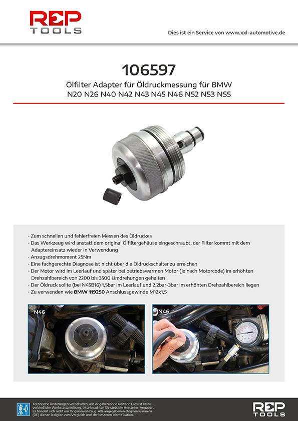 Ölfilter Adapter für Öldruckmessung bei BMW N20 N26 N40 N42 N43 N45 N46 N52 N53 N55