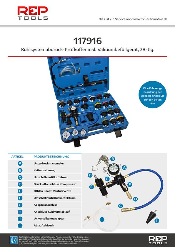 Kühlsystemabdrück-Prüfkoffer inklusive Vakuumbefüllgerät 28-tlg.