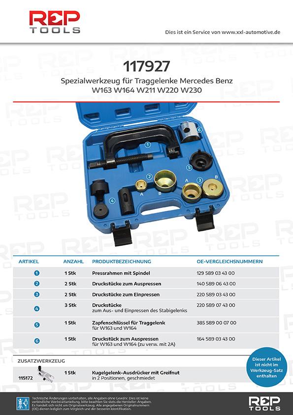 Spezialwerkzeug für Traggelenke Mercedes Benz W211 W220 W230 W163 W164