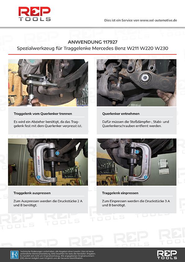 Anwendung Spezialwerkzeug für Traggelenke Mercedes Benz W211 W220 W230