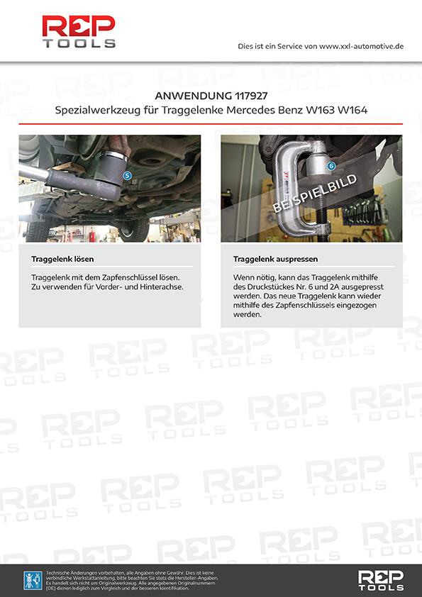 Anwendung Spezialwerkzeug für Traggelenke Mercedes Benz W163 W164
