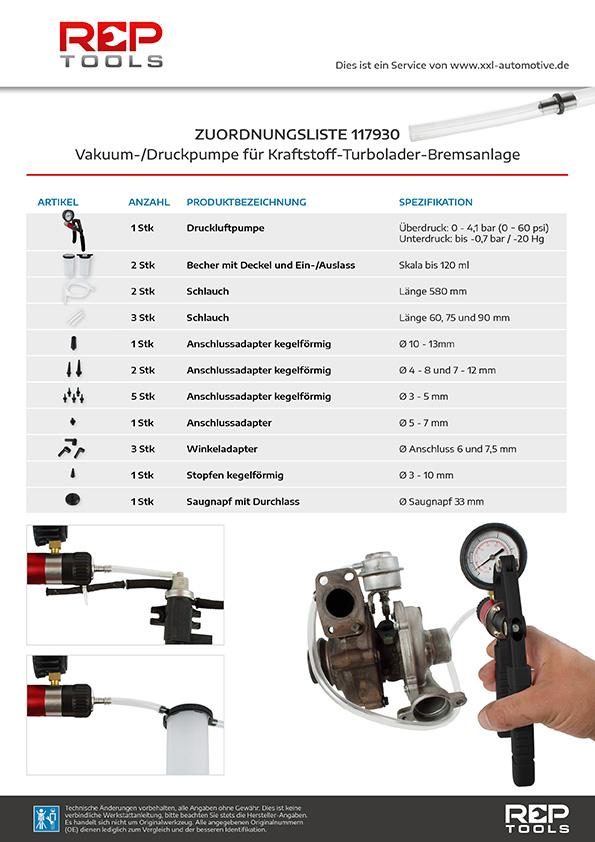 Zuordnungsliste Vakuum-/Druckpumpe für Kraftstoff-Turbolader-Bremsanlage