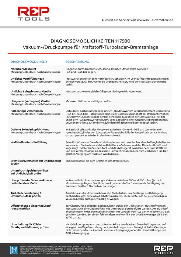 Diagnose Vakuum-/Druckpumpe für Kraftstoff-Turbolader-Bremsanlage