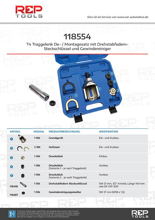 T4 Traggelenk De- / Montagesatz mit Drehstabfeder Steckschlüssel und Gewindereiniger