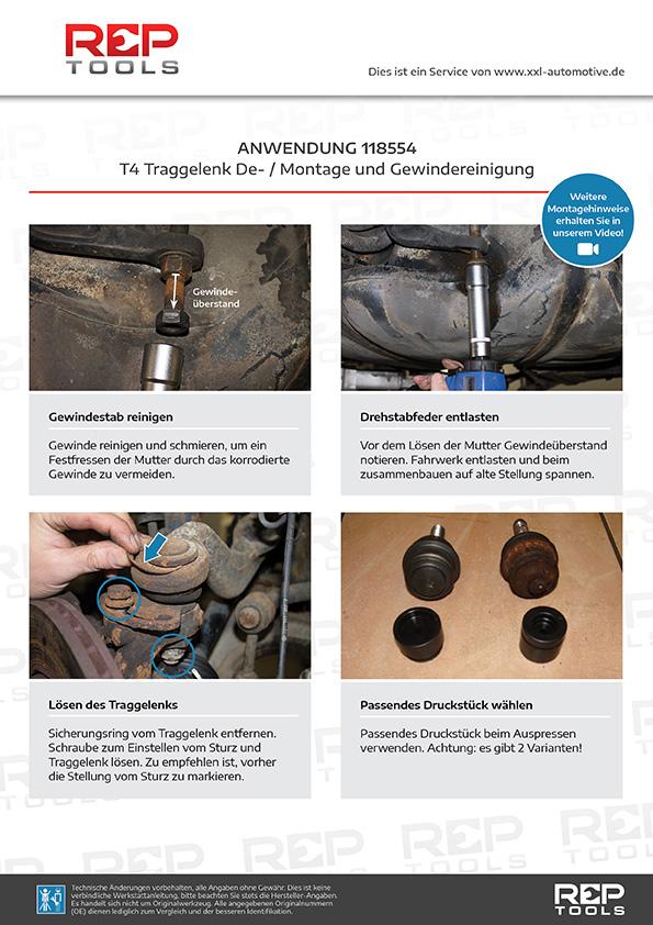 Anwendung T4 Traggelenk De- / Montagesatz mit Drehstabfeder Steckschlüssel und Gewindereiniger
