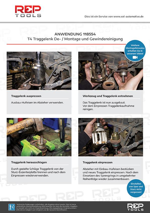 Anwendung T4 Traggelenk De- / Montagesatz mit Drehstabfedern Steckschlüssel und Gewindereiniger