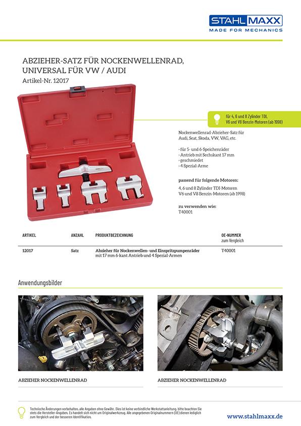 Nockenwellenrad-Abzieher VAG 4- 6- 8-Zylinder TDI, V6 V8 Benziner