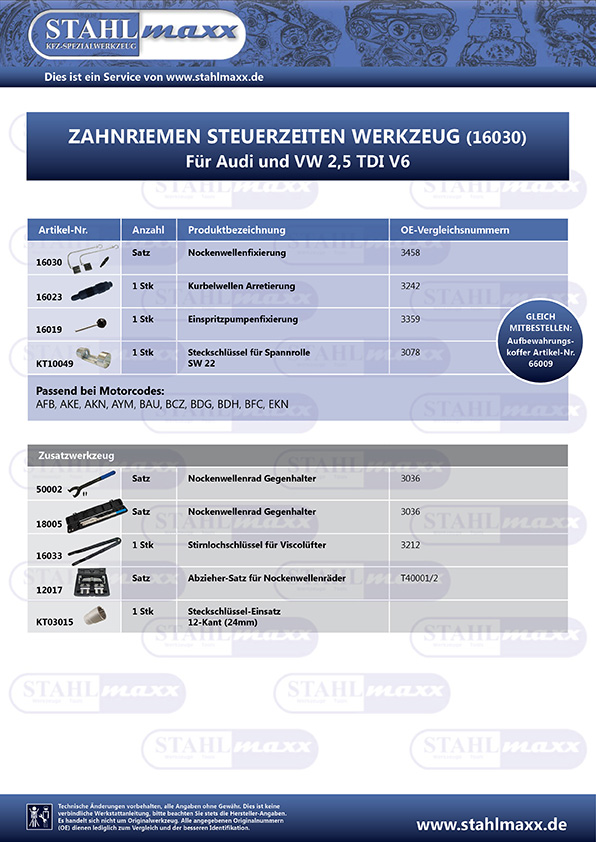 Spezialwerkzeug für Audi und VW 2,5 TDI V6
