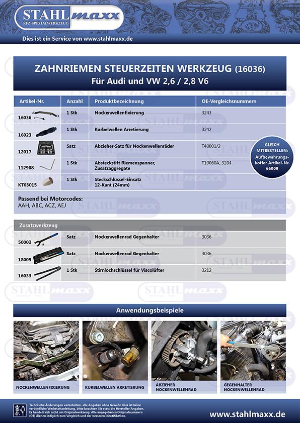 Spezialwerkzeug für Audi und VW 2,6 und 2,8 V6