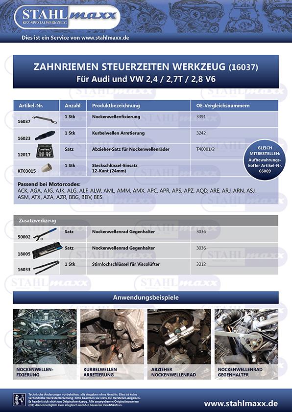Spezialwerkzeug für Audi und VW 2,4, 2,7T und 2,8 V6